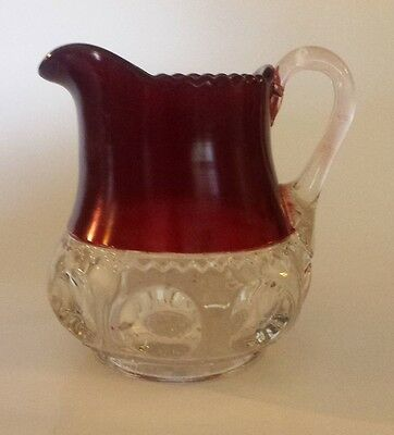 Vintage Kings Crown Ruby Red Flash Glass Thumbprint Creamer Pitcher ANTIQUE 4.75