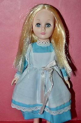 "Vintage 1970s Effanbee 11"" Doll - Alice in Wonderland in Blue & White Dress"