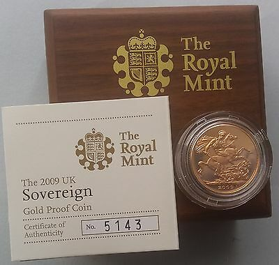 2009 Gold Proof Sovereign Royal Mint Box & C.O.A