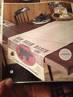 """Country Primitive Lodge Cabin Cotton 72"""" Table Runner  Bear"""