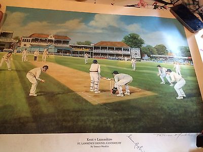 Limited Edition Print by Terence Macklin Signed Kent V Lancashire Cricket