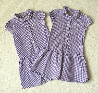 ***Next girls Lilac checked summer school dresses x2 6 years VGC***