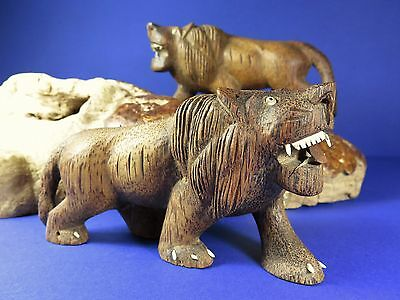 Pair Vintage Early 20th Century Hand Carved Coconut Wood Lion Figurines