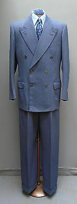 """Vtg 1940s 1950s Double Breasted Suit Blue Herringbone Jacket Trousers Large 42"""""""