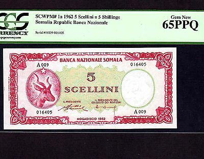 Somalia, 5 Shillings 1962, P-1, PCGS Gem Unc 65 PPQ * First Issue First Note *