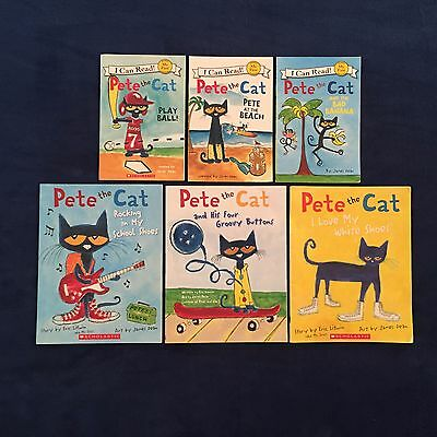 Lot of 6 Children's Picture Books James Dean: Pete the Cat Series - Paperbacks