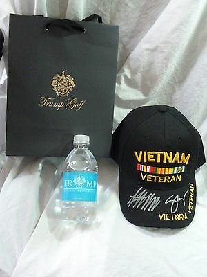 Donald Trump And Mike Pence Signed Vietnam Vet  Embroidered Hat+Admission Ticket