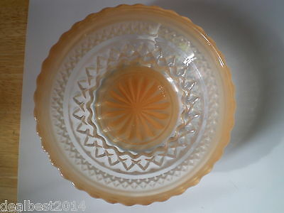 Pasari Indonesia Vintage Frosted Peach Bowl Pinwhell Scallop dish Hobnail bol