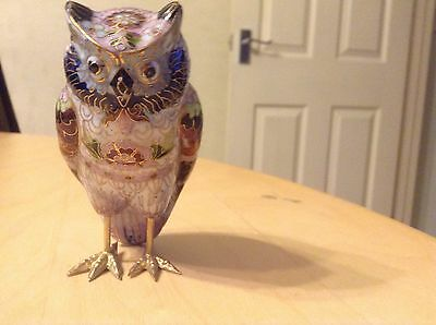 Large Cloisonne Owl Ornament very unusual and collectable, colourful enamel
