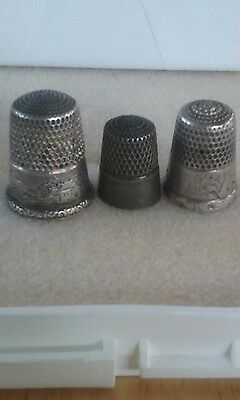 3 sterling thimbles, size 5, 8, 12.