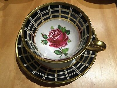 Royal Chelsea Gold Black And Flowers Roses Tea Cup & Saucer 465A England China