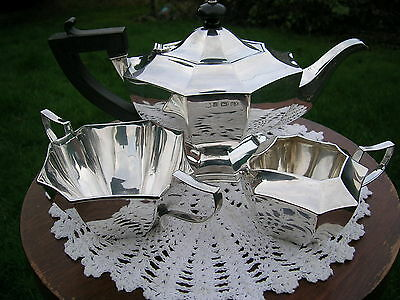Art Deco Solid Silver 3 Piece Bachelor Tea Set  Hallmarked 1911 Octagonal.