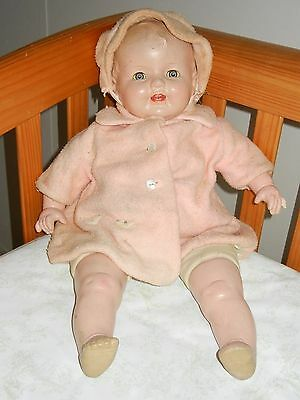 "Big Huge 25"" Vintage Antique Compo Composition & Cloth Baby Doll w Clothes"
