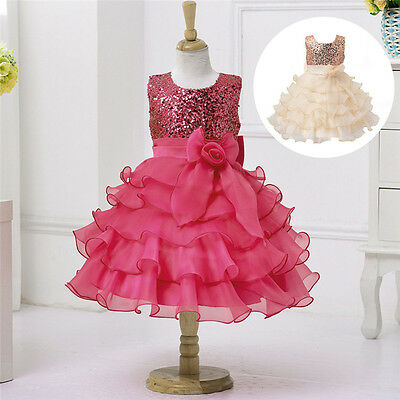 Girls Sequinned Dress Flower Princess Sleeveless Formal Party Wedding Dress