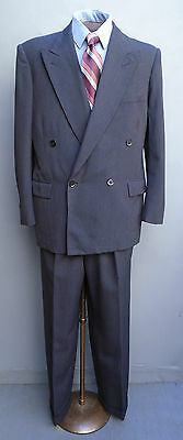 Vtg 1940s 1950s Double Breasted Suit Grey Striped Wool Jacket Trousers 38 x 30