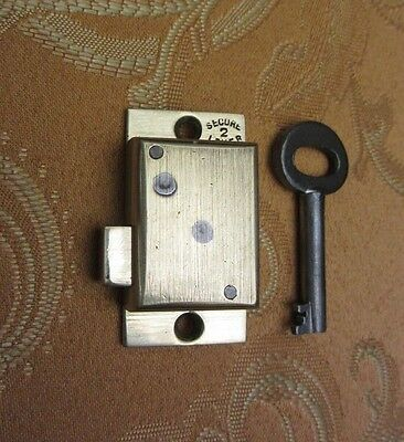 Small Old Vintage 2 lever brass cabinet lock or longcase lock & key REFURBISHED.