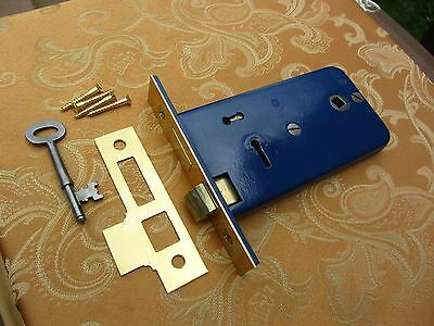 Old Vintage 2 Lever Victorian Horizontal Mortice Lock and 1 Key REFURBISHED.