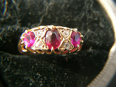 Beautiful 18ct Gold Diamond and Ruby Ring 1915