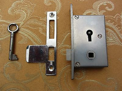 Old Vintage 2 lever chromed brass wardrobe mortice lock with key & keeper plate