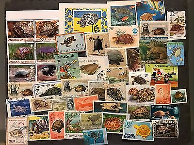 TURTLES & TORTOISES 140 Stamps Worldwide collection Lot All Different