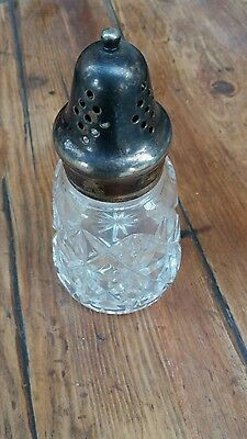 silver plated cut glass great styled sugar shaker