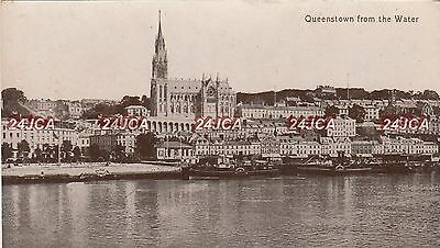 Irish Postcard. Queenstown (Cobh) from the water. Paddle Tugs docked. c 1907