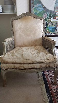 2 Louis French / European Style Large Wood And Fabric Armchairs