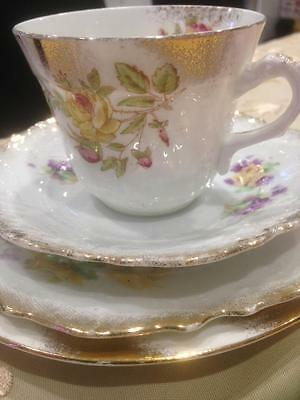 Antique China. Gilded Hand painted Cup Saucer Two Plates. Mix and Match
