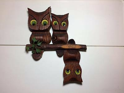 """Cryptomeria Wooden Owl """"Nobody's Perfect"""" Wall Hanging Mid Century Modern Kitsch"""