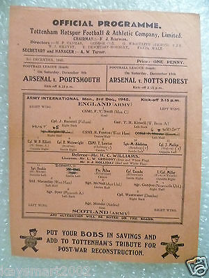 1945 ENGLAND v SCOTLAND, 3 Dec (Army International Single sheet programme)
