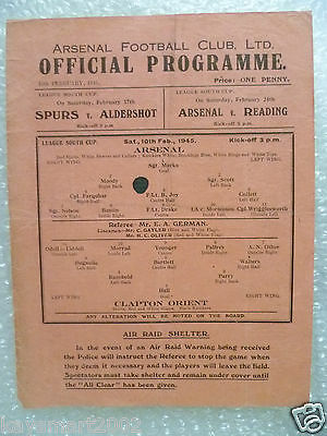 1945 League South Cup ARSENAL v. CLAPTON ORIENT,10 Feb (single sheet programmes)