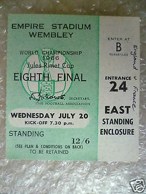 1966 World Cup Ticket- ENGLAND v FRANCE, 20 July (Original* Excellent*)