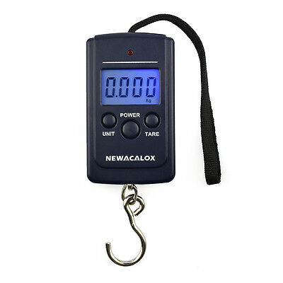 NEWACALOX 40kg x 10g Mini Digital Scale for Fishing Luggage Travel Weighting Ste