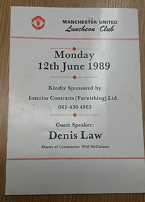 1989 MANCHESTER UNITED Luncheon Club- Denis Law Dinner Menu - Multi Signed