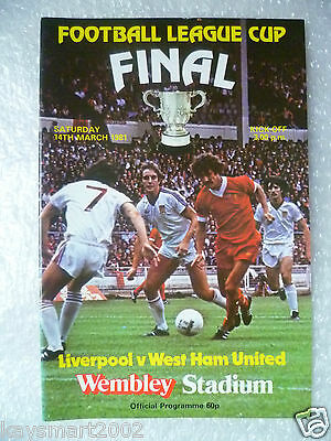 1981 League Cup FINAL Programme LIVERPOOL v WEST HAM UNITED, 14 March (Org*,Exc)