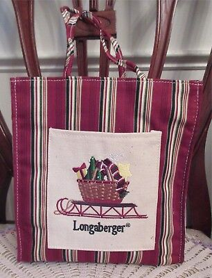 Longaberger Basket HOLIDAY STRIPE SLEIGH Gifts Lunch Shopping Gift Tote Bag New