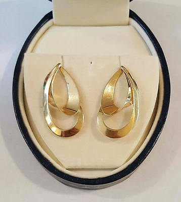14k Yellow Gold Double Twisted Hoop Post Earrings