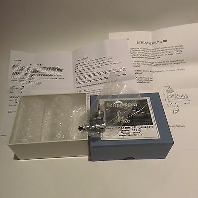 SCHLOSSER 0.25 cc Diesel in box plus papers for Free Flight Models