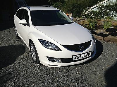 Pearlescent white Mazda 6 estate, low mileage, 2.2 diesel