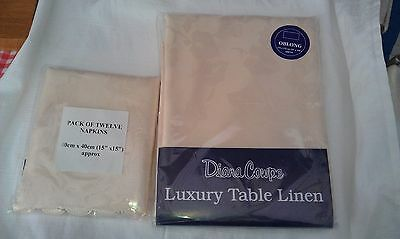 Diana Cowpe Table Cloth and matching 12 Napkins Shabby Chic Cream 175x275cm Leaf