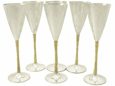 Sterling Silver Champagne Flutes Set of Six by Stuart Devlin - Vintage 1978