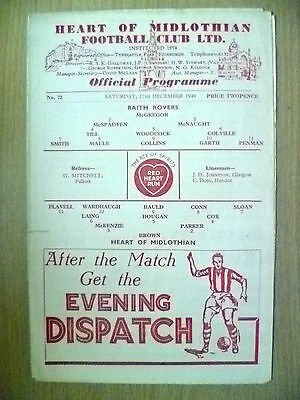 1949 RAITH ROVERS v HEART OF MIDLOTHIAN, 17 December 1949 (Org, VG*)