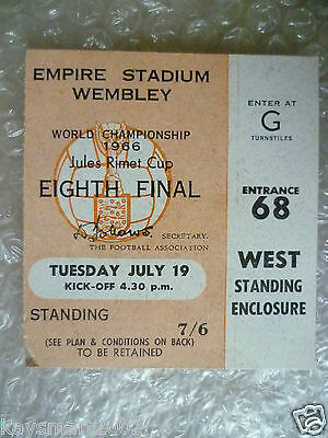 1966 World Cup Ticket- MEXICO v URUGUAY, 19 July (Original* Excellent*)