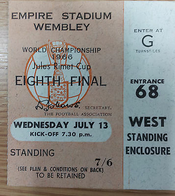 1966 World Cup Ticket  Mexico v France, 13 July (Original*, Excellent)
