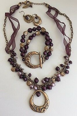 Coldwater Creek Necklace Earrings Bracelet Parure Set Deep Purple Bronze