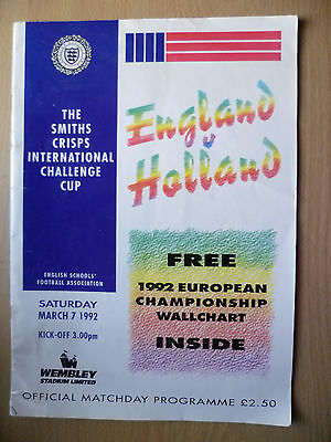1992 SMITHS CRISPS INTL CHALLENGE CUP- ENGLAND v HOLLAND, English School's Asso.