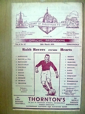 1951 RAITH ROVERS v HEART OF MIDLOTHIAN, 24 March 1951 (Org, VG*)