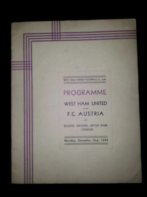 1935 Friendly WEST HAM v FC AUSTRIA (A very rare  VIP Programme)