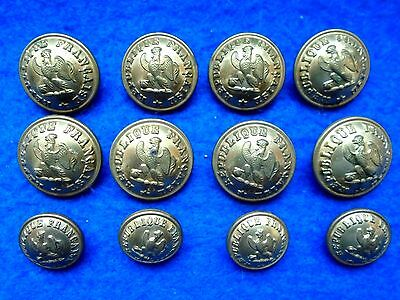 12 X French Republic National Guard Buttons, Perfectionne L Paris * Circa 1865