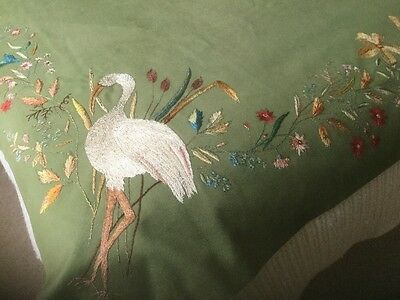"Antique 1880's Silk Embroidery Panel ""Birds Flowers & Foliage"""